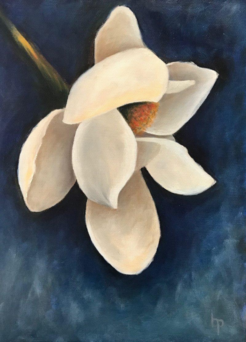 """""""Blue Magnolia"""", 12""""x 16"""" Oil on Board"""