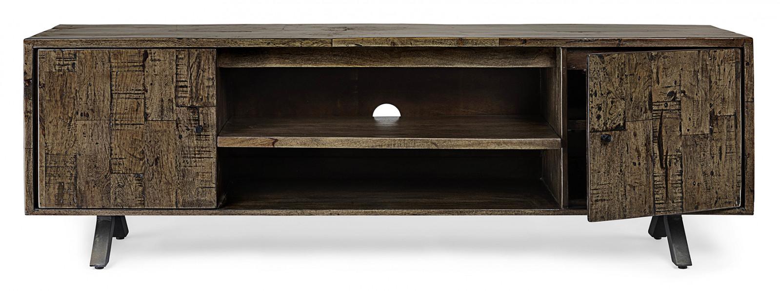 meuble tv long 180 bois massif sur pieds metal