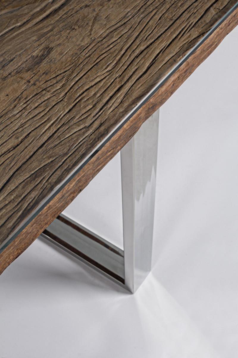 aniram table repas design bois recycle et metal