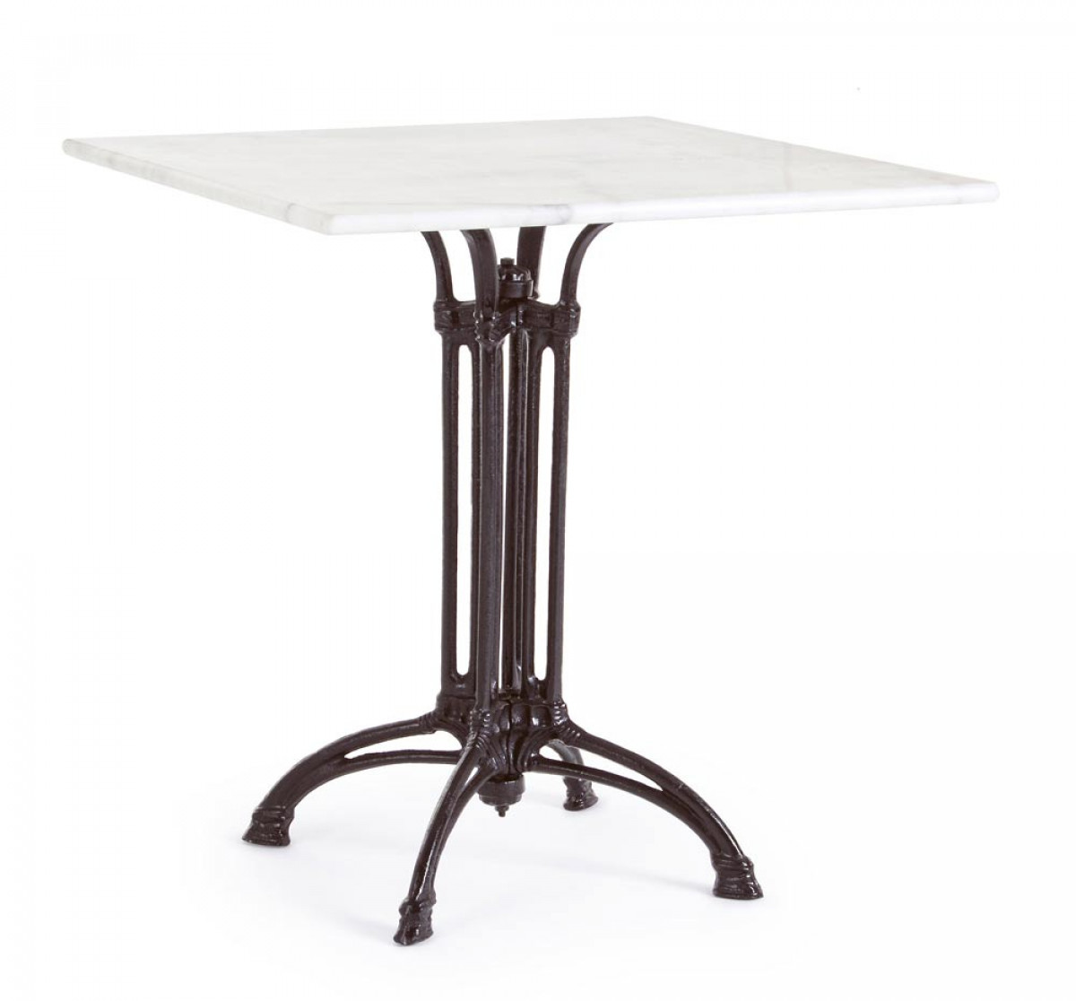 ritchie table bistrot carree marbre fonte