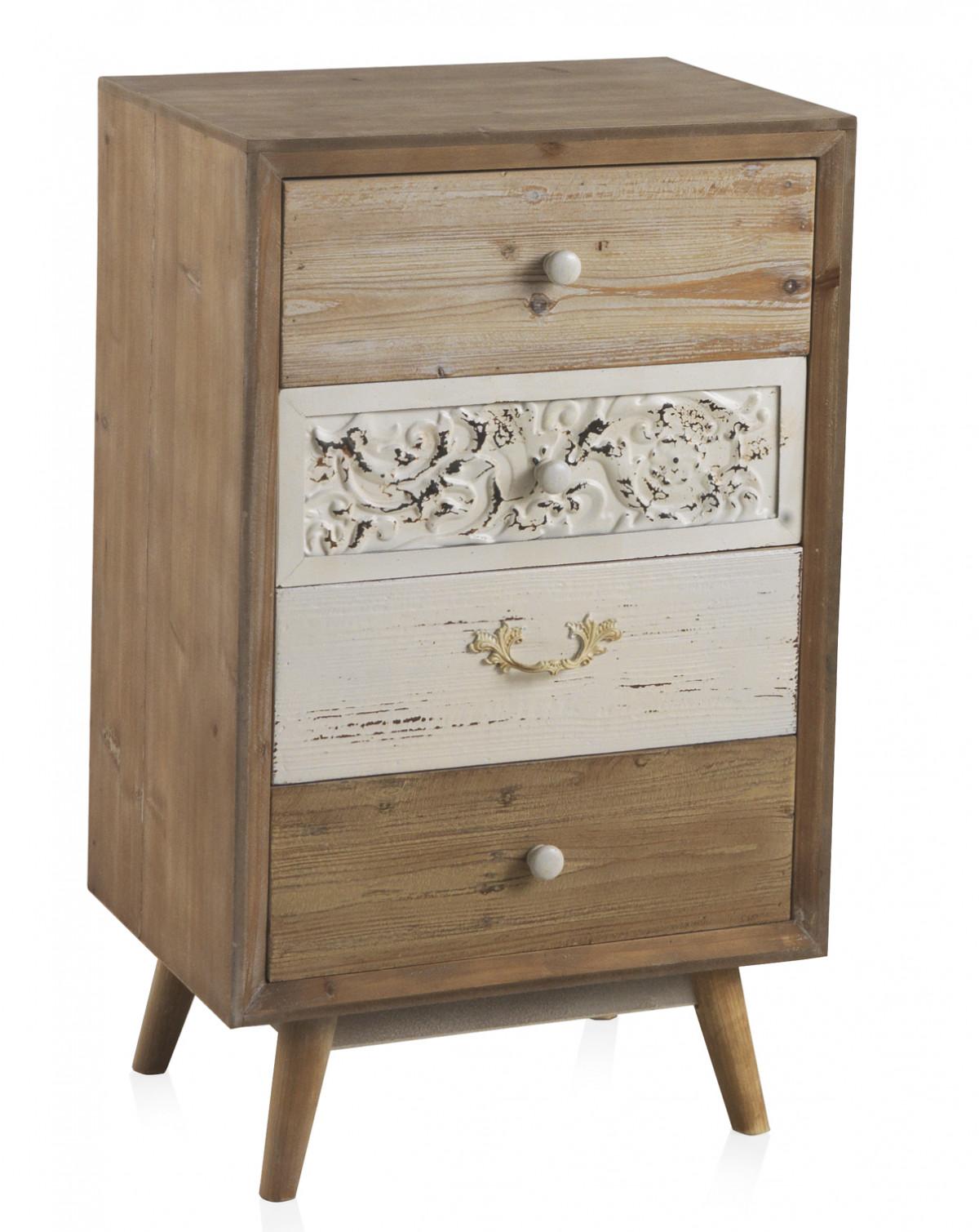 petit meuble de rangement en bois avec 3 tiroirs