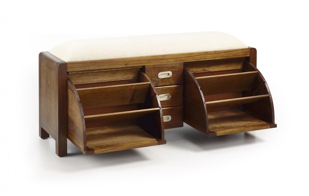 banc meuble a chaussures en bois de mindi 125 38 50 cm saurus