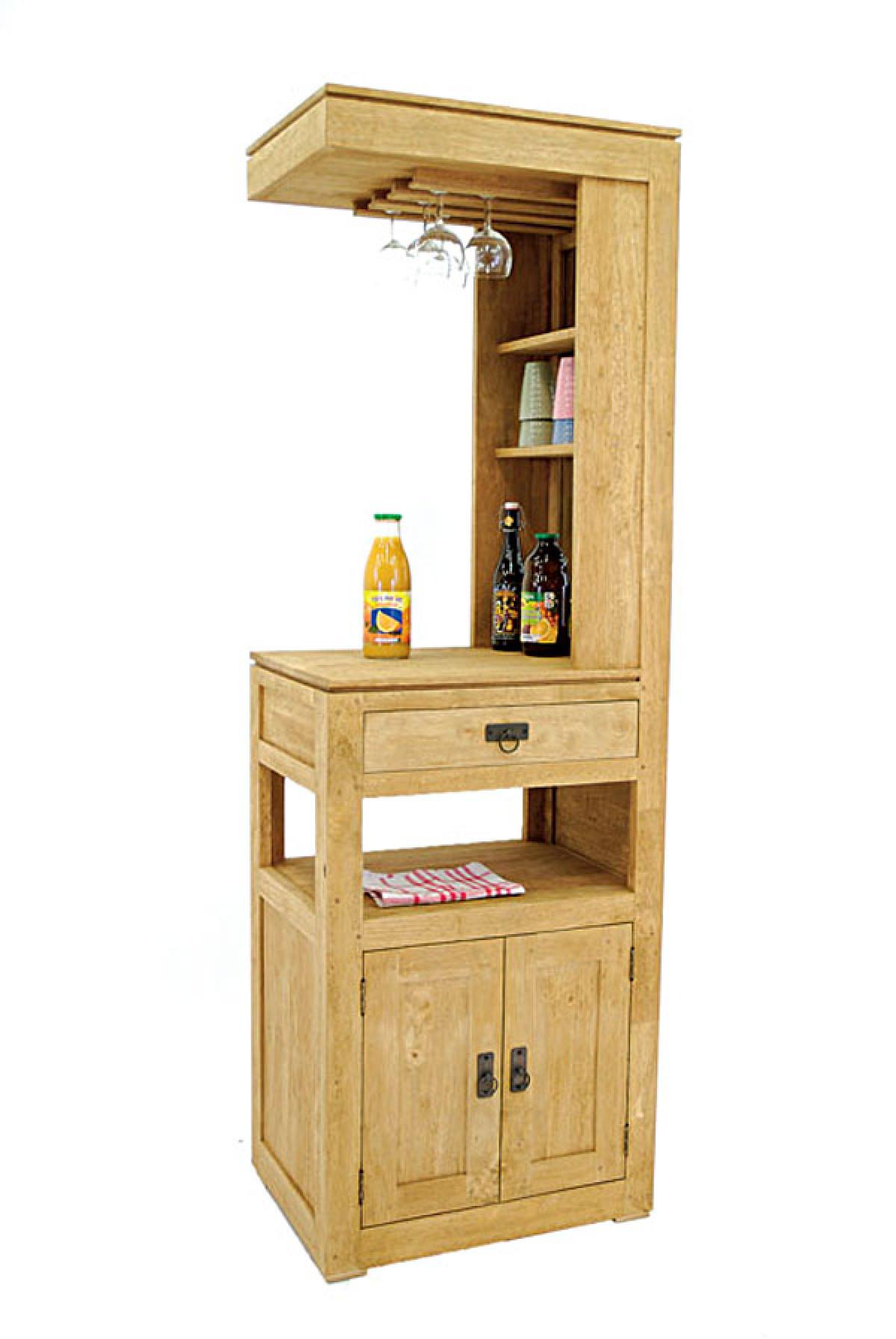 meuble bar en bois recycle d hevea personnalisable 62x45x190 cm
