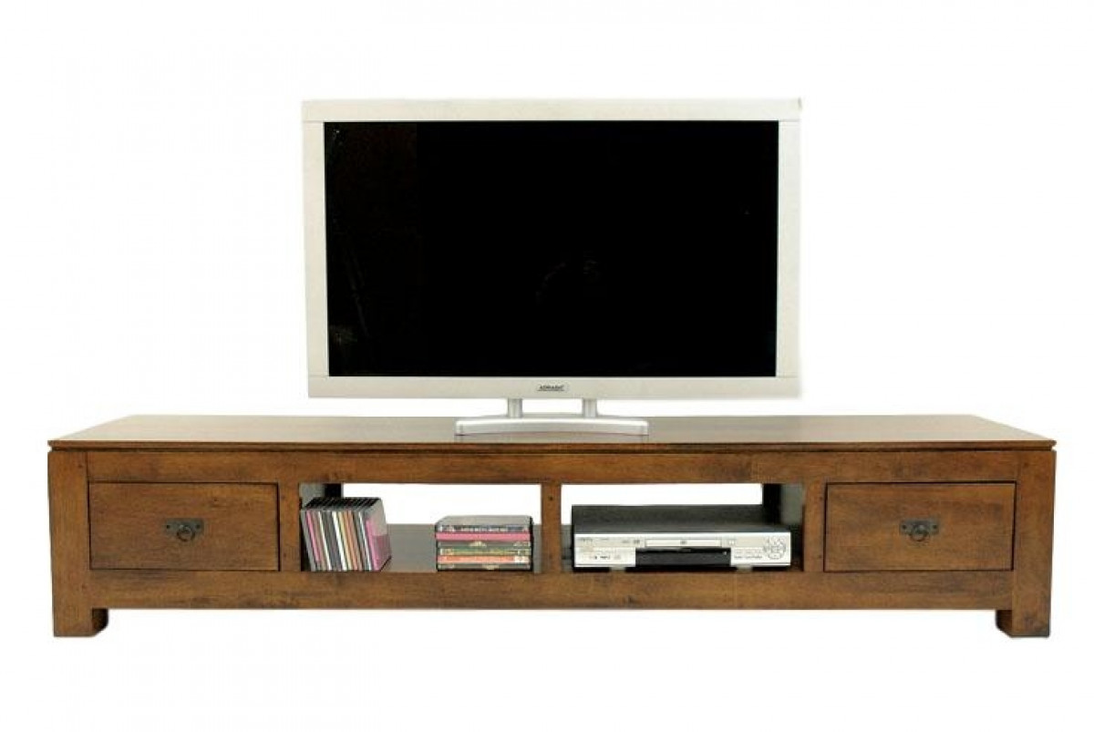 quixa meuble tv long bois massif