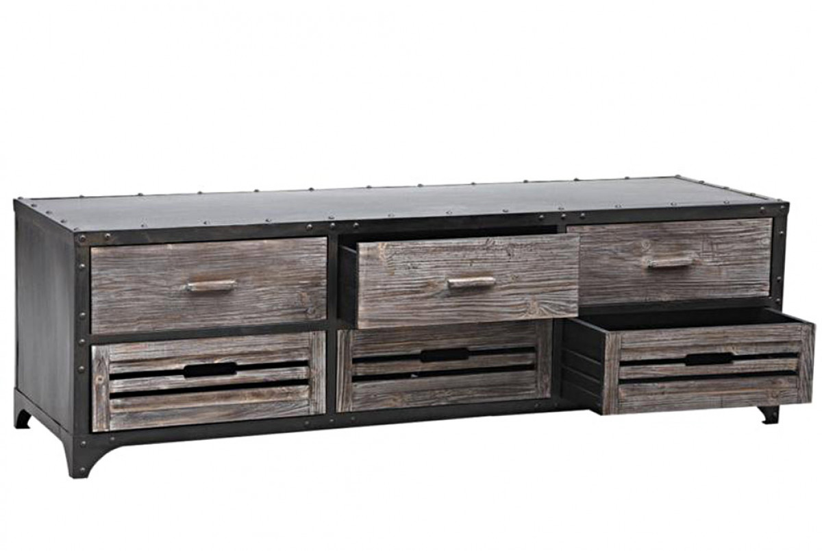 meuble tv video metal et bois hounar meuble style industriel