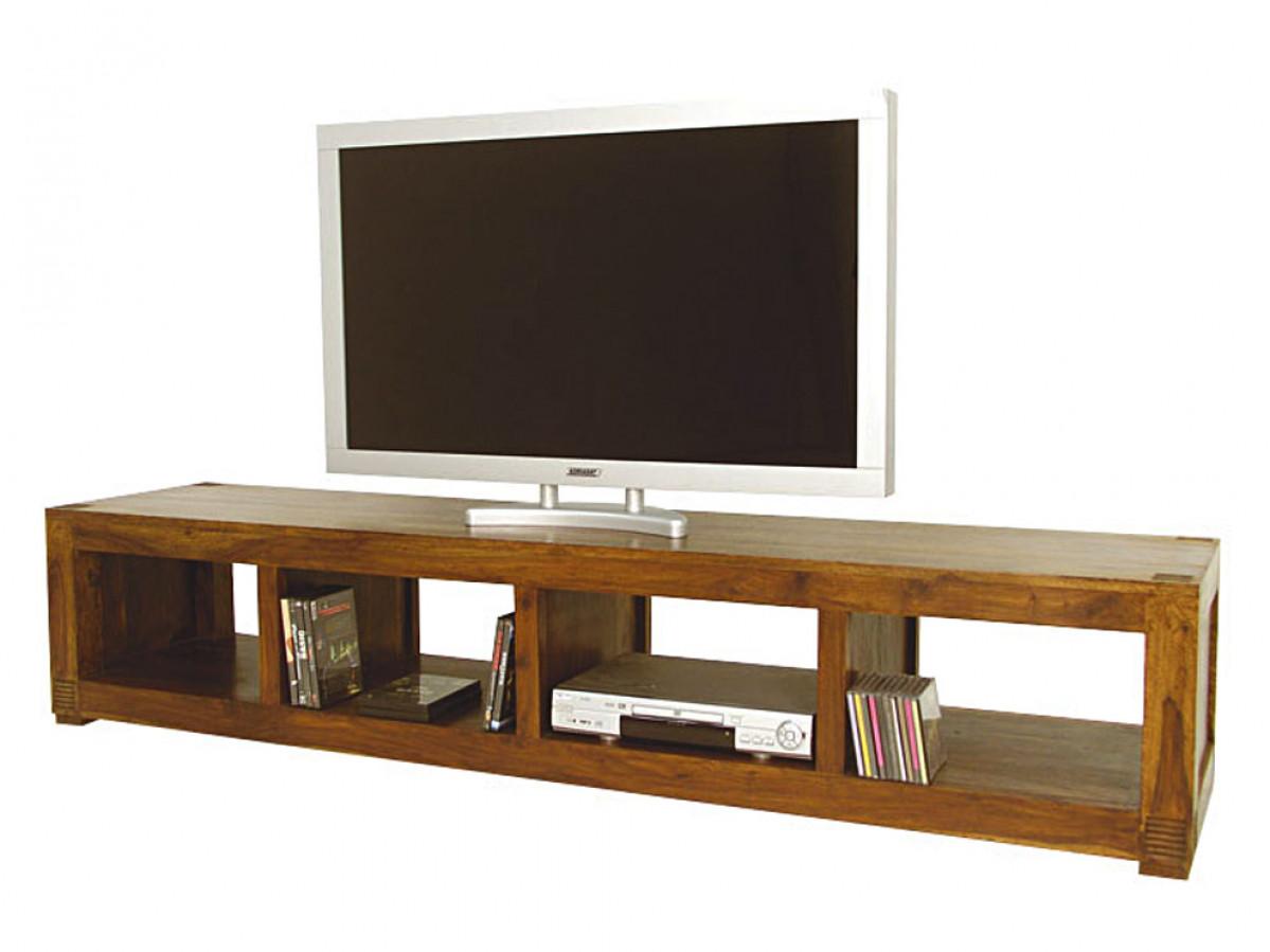 meuble tv bas long en bois de palissandre pour ecran large avec nombreux rangements