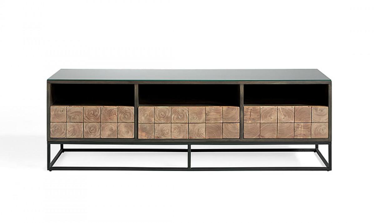 meuble tv fer acacia 2 dimensions
