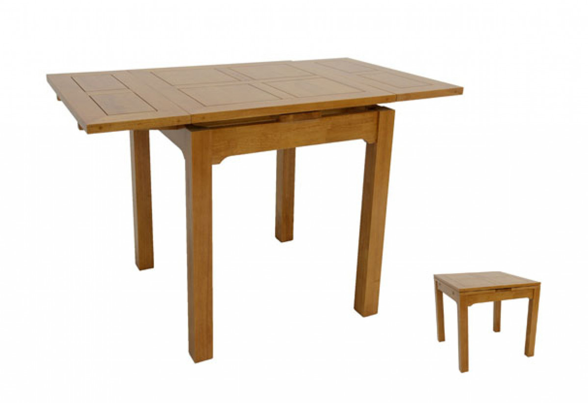 petite table repas en bois 80 cm avec 2 rallonges de 30 cm