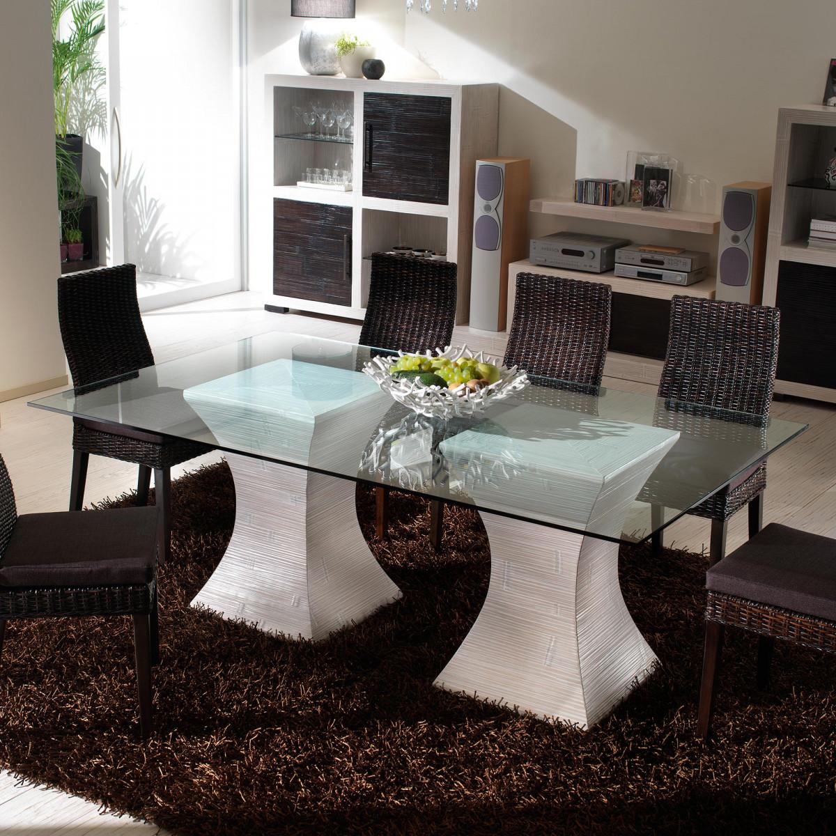 table salle a manger moderne blanc ceruse dimension 200 100 modele pacamara