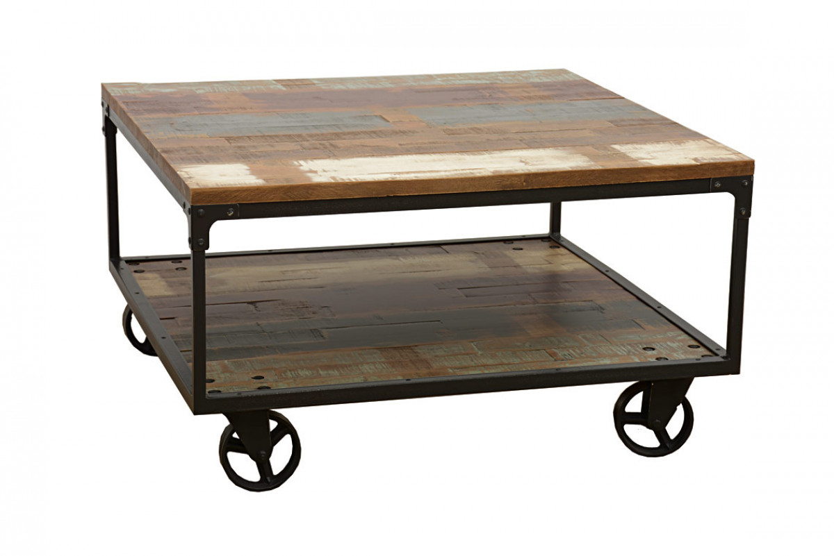 indus table basse industrielle a roulettes