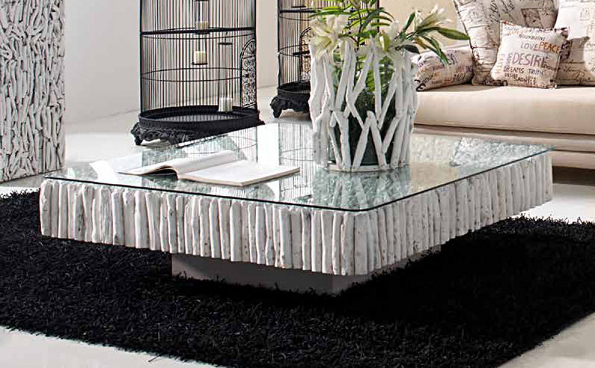 table basse carree teck blanchi recycle mosaique
