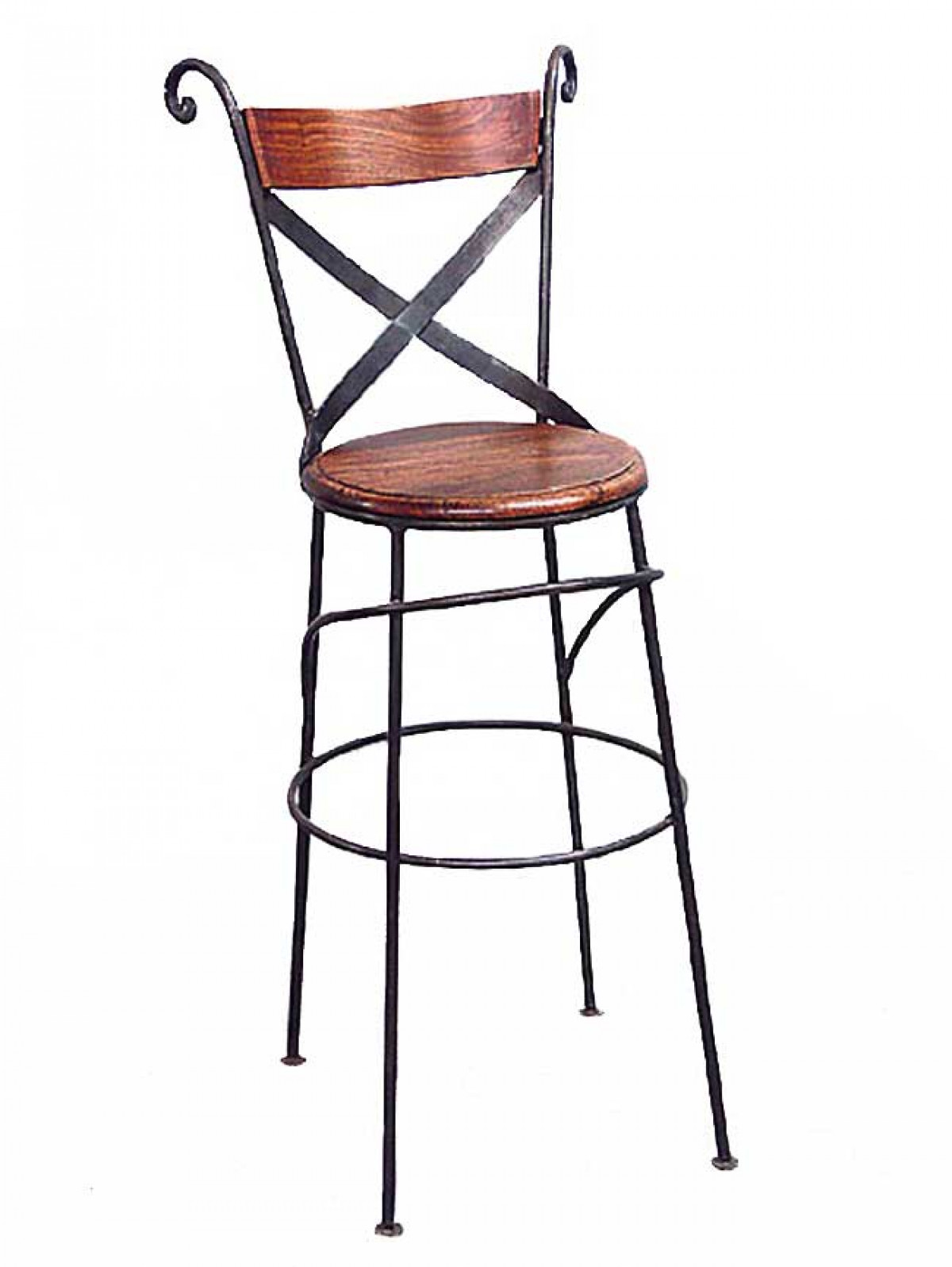 tabouret chaise de bar fer forge et bois