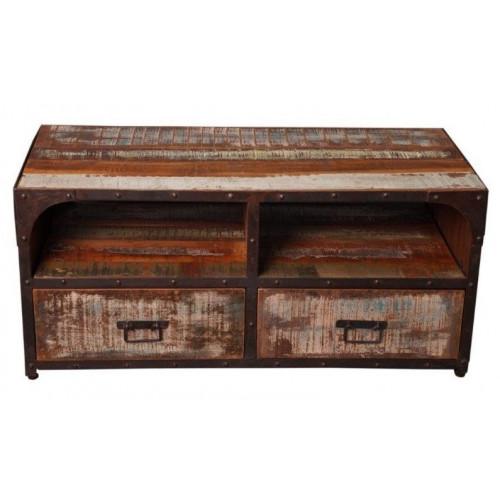 wooden meuble tv industriel bois recycle