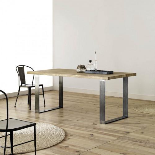 table de salle a manger en metal et bois design industriel loft personnalisable roma