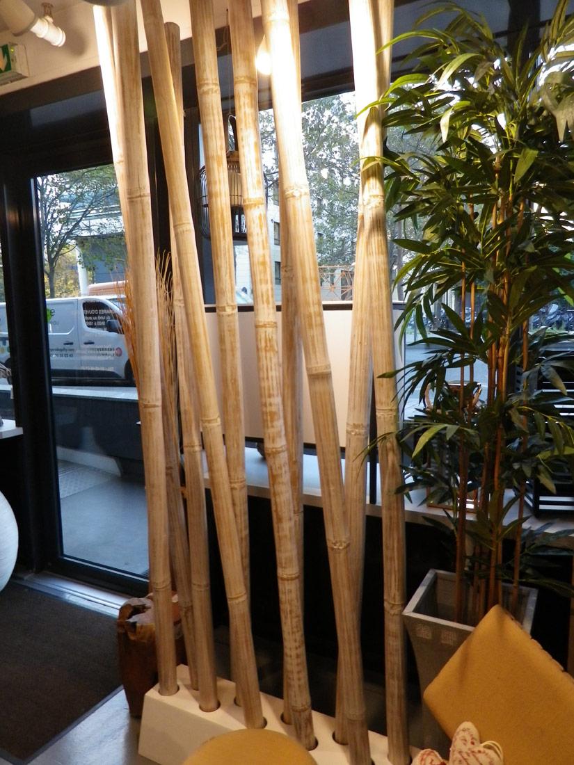 Paravent Sparation Bambou Crus Blanc 5972