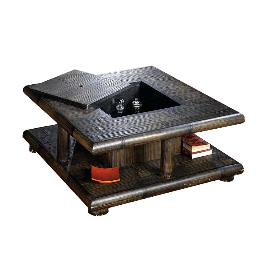 Table Basse Bambou Wenge Avec Coffre Bar Tao 2383