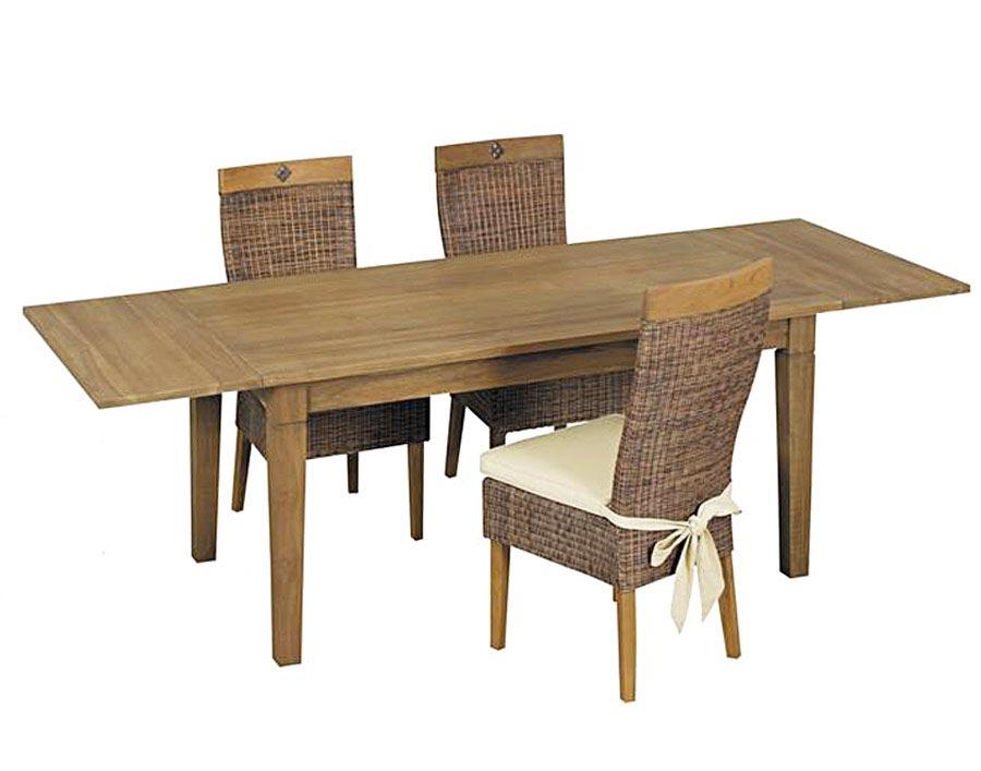 table salle a manger teck cire avec allonges image 1