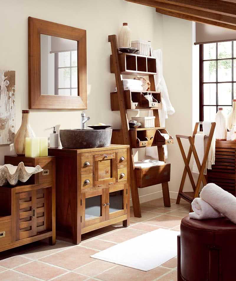 meuble de salle de bain bambou salle