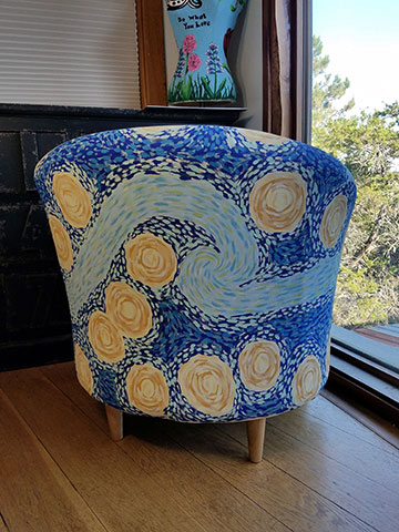 Hand Painted Starry Night Club Chair & Hand Painted Starry Night Club Chair u2013 Art Barn ATX