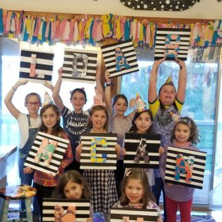 3-D Suminagashi Letter Canvas Art Birthday Party