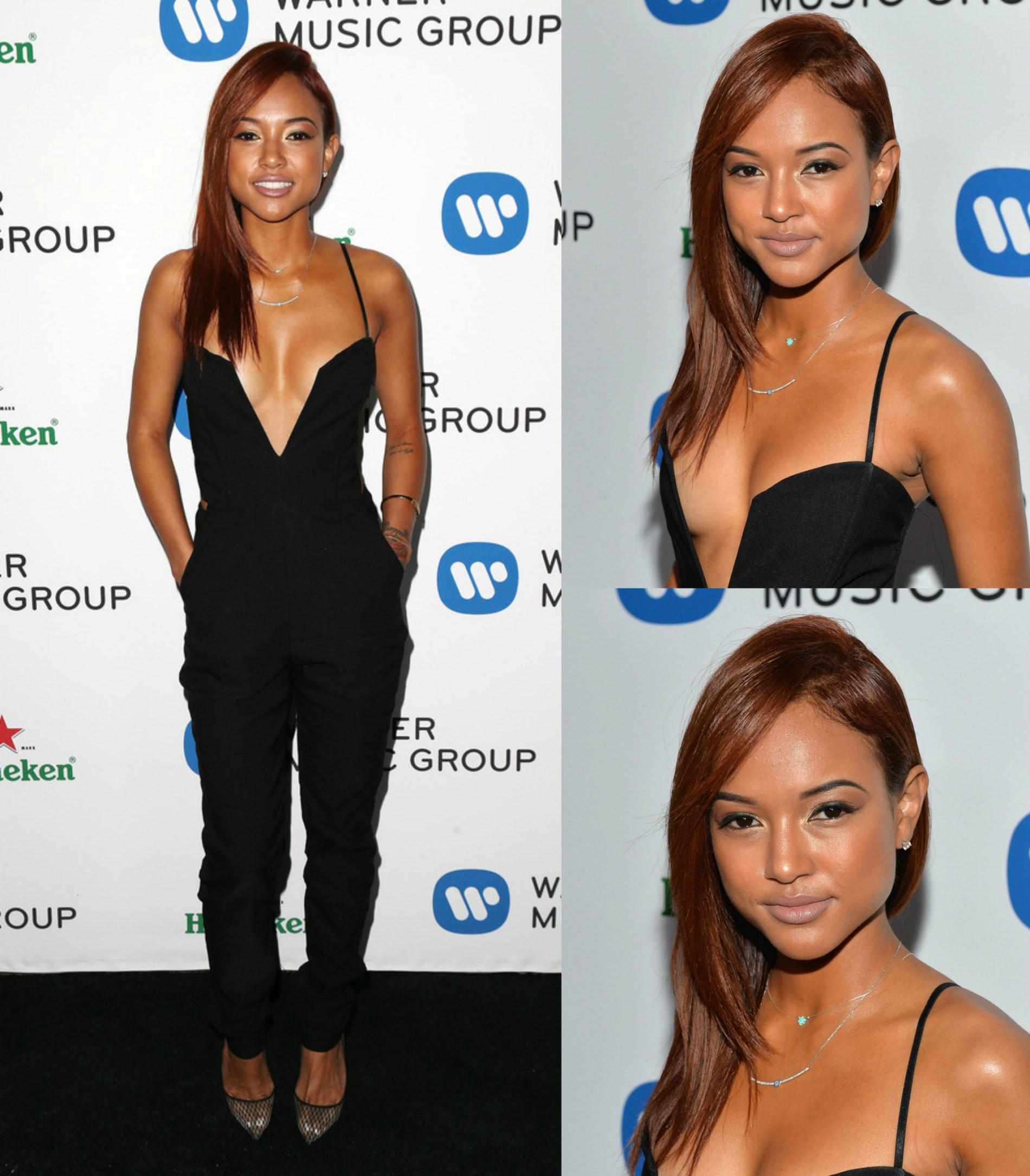 Karrueche Tran's Grammy After Party Nasty Gal Black Plunging Midnight Run Jumpsuit