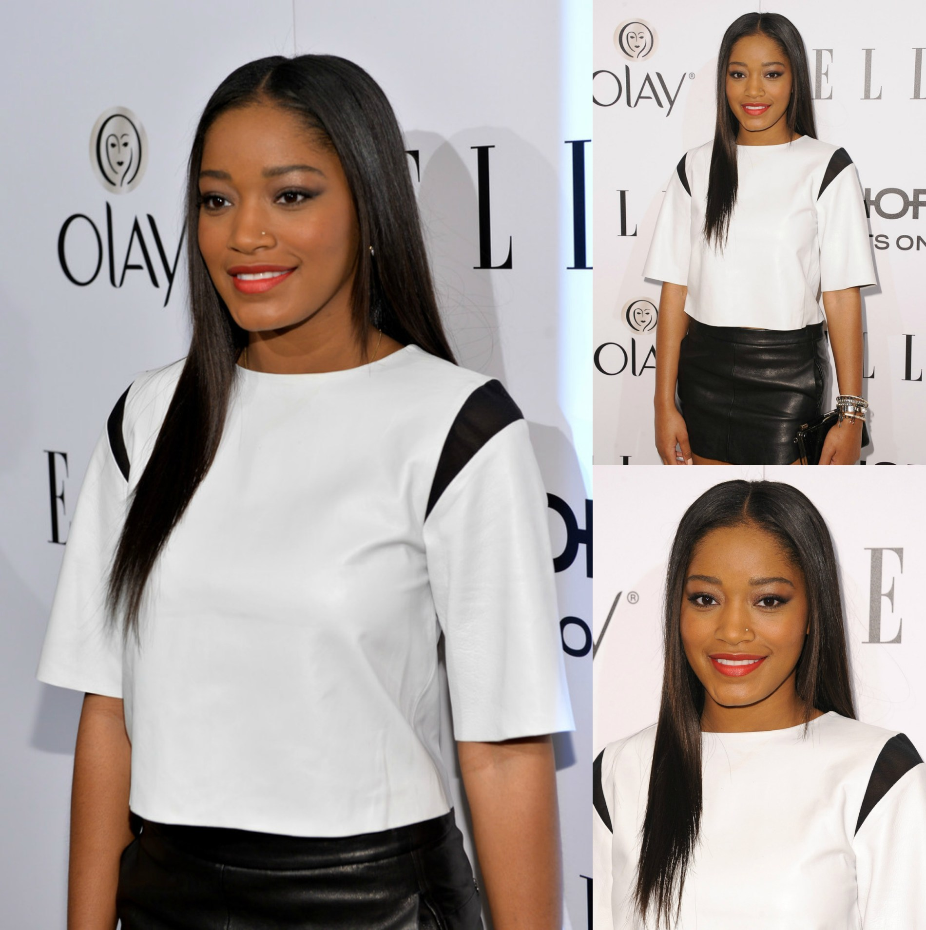 Keke Palmer's White Bec & Bridge Crop Top and Leather Mini Skirt at ELLE's Annual Women in Television Celebration