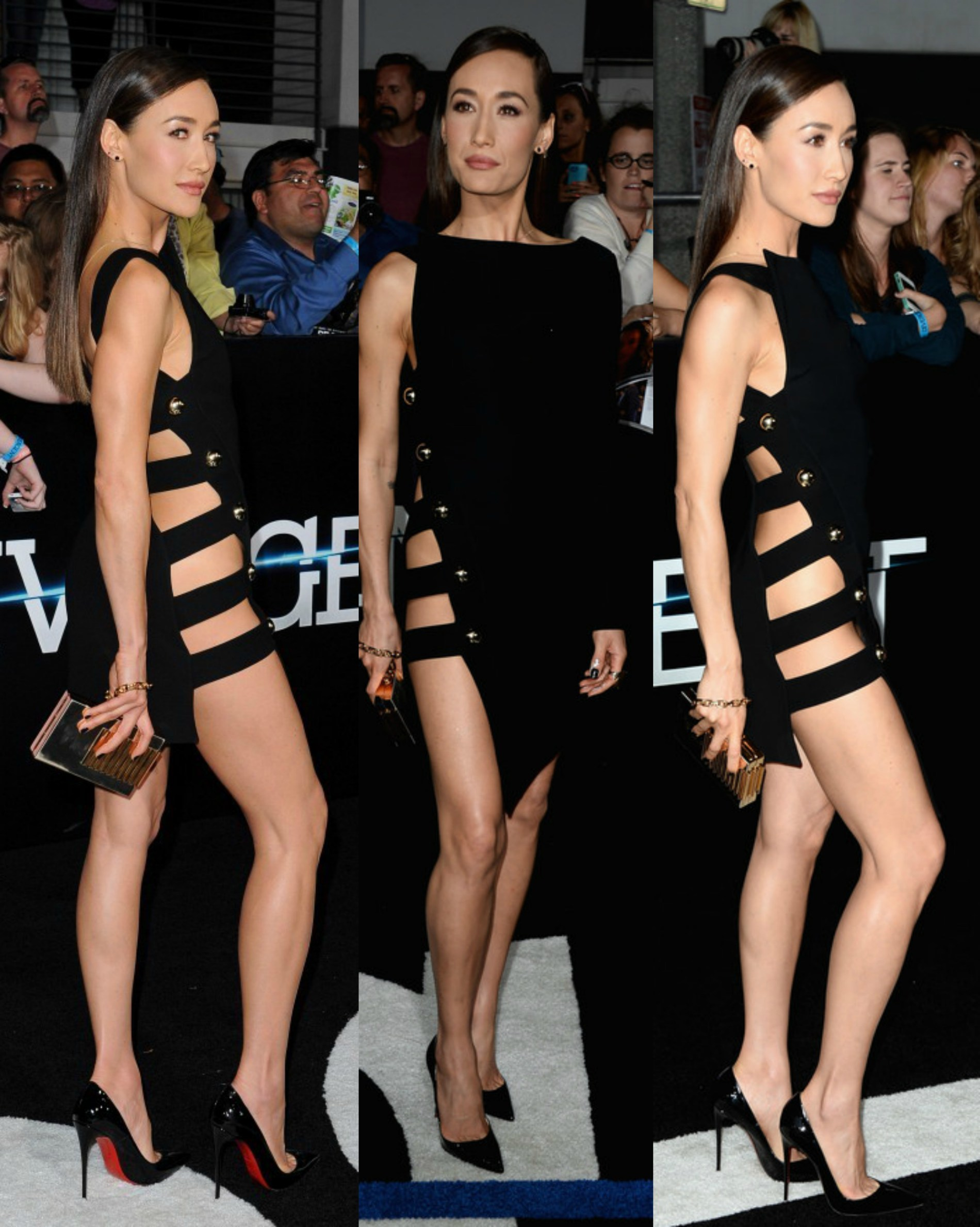 Hot or Not: Maggie Q's Anthony Vaccarello One Sleeve Sheath Little Black Dress at Divergent Movie Premiere