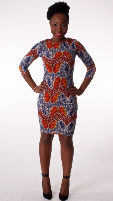 Butterfly Print Bodycon Dress in Blue