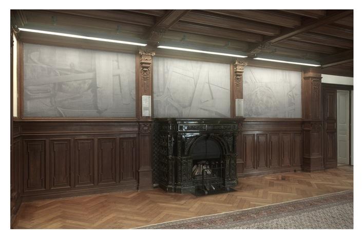 "Tobias Hantmann ""three corners of a studio"", gekämmte Teppiche, Gesamtmaß: 160 x 800 cm, 2010 Ausstellungsansicht im Museum Morsbroich (Foto: Achim Kukulies)"
