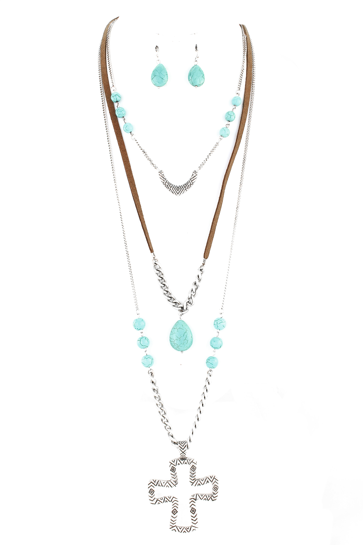Three Layer Cross And Stone Necklace Set