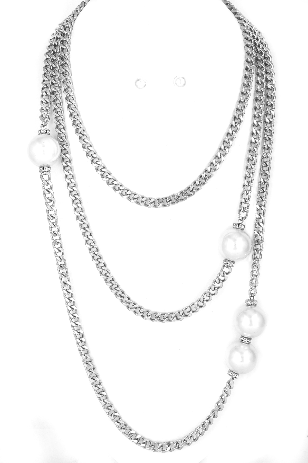 Layered Crystal Rondelle And Pearl Necklace Set