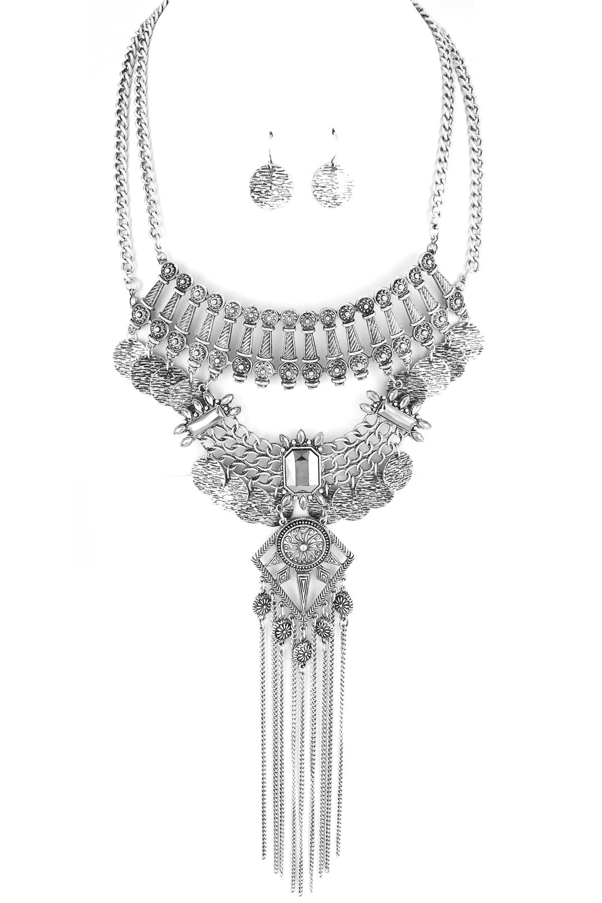 Coin Fringe Tassel Bib Necklace Set