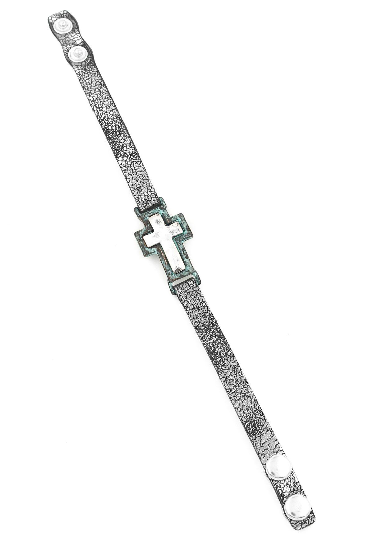 Faux Leather Cross Bracelet