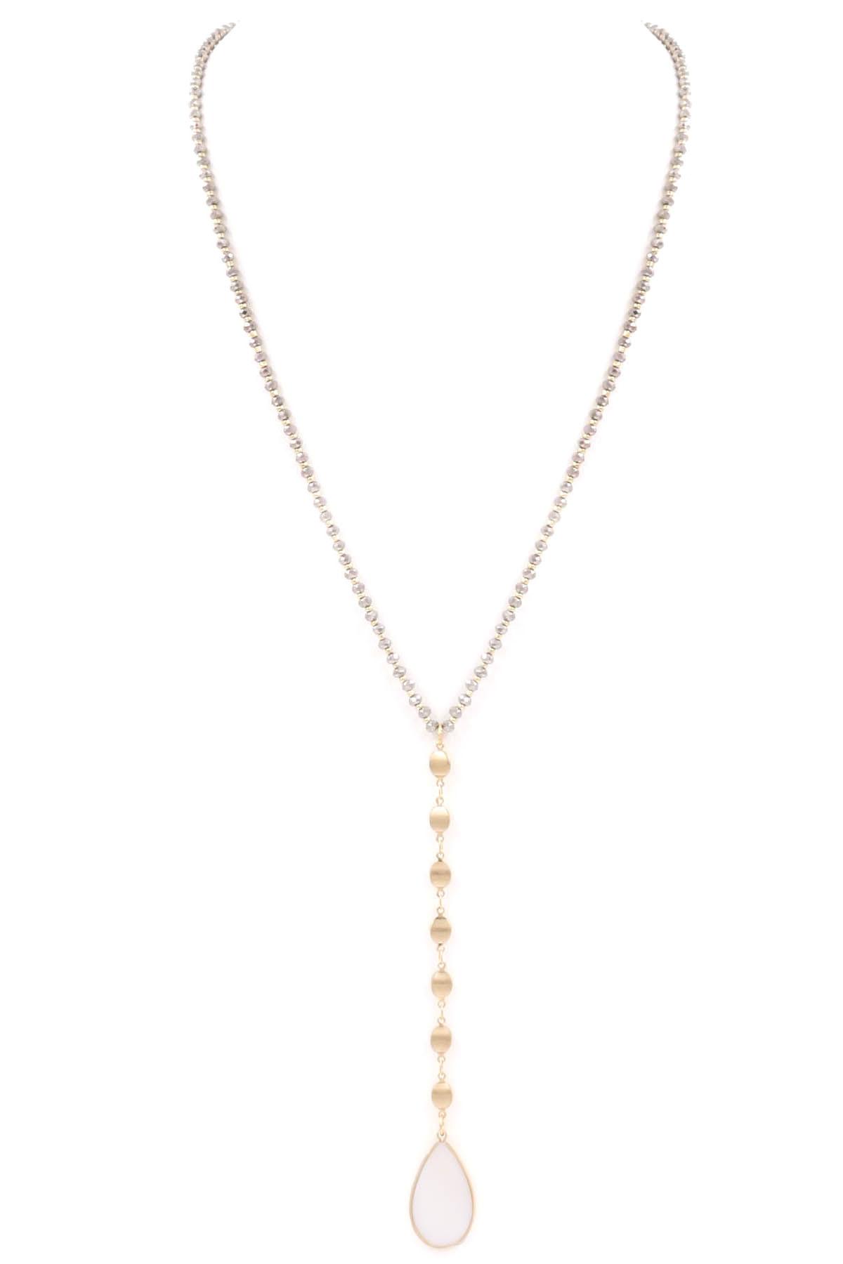 Teardrop Y Drop Glass Bead Necklace