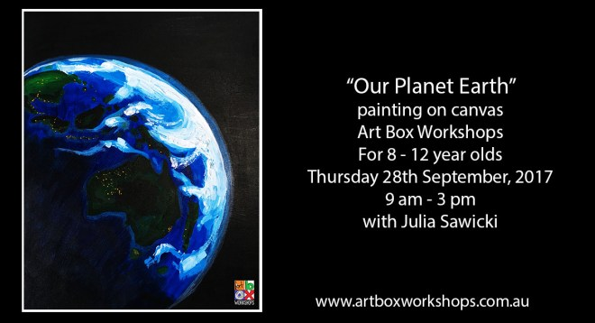Painting of the planet earth @artboxworkshops