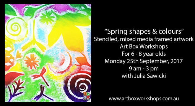 Spring shapes and colour stenciling @artboxworkshops