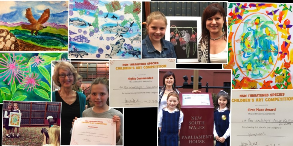 Art Box Workshop prizwe winners for the Threatened species award at Parliament House, Sydney