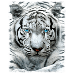 LARGE WHITE TIGER RHINESTONES