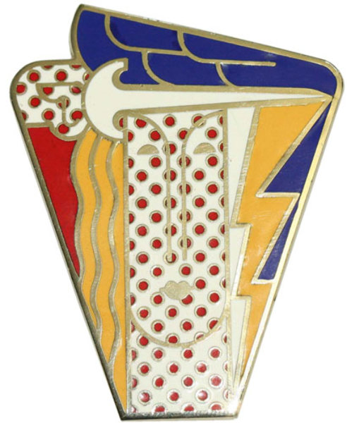 Roy Lichtenstein - Modern Head. Brooch. Metal, enamel. Photo from http://www.artbrokerage.com