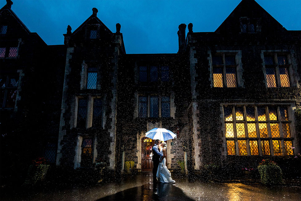 Wedding at Miskin Manor in the Rain