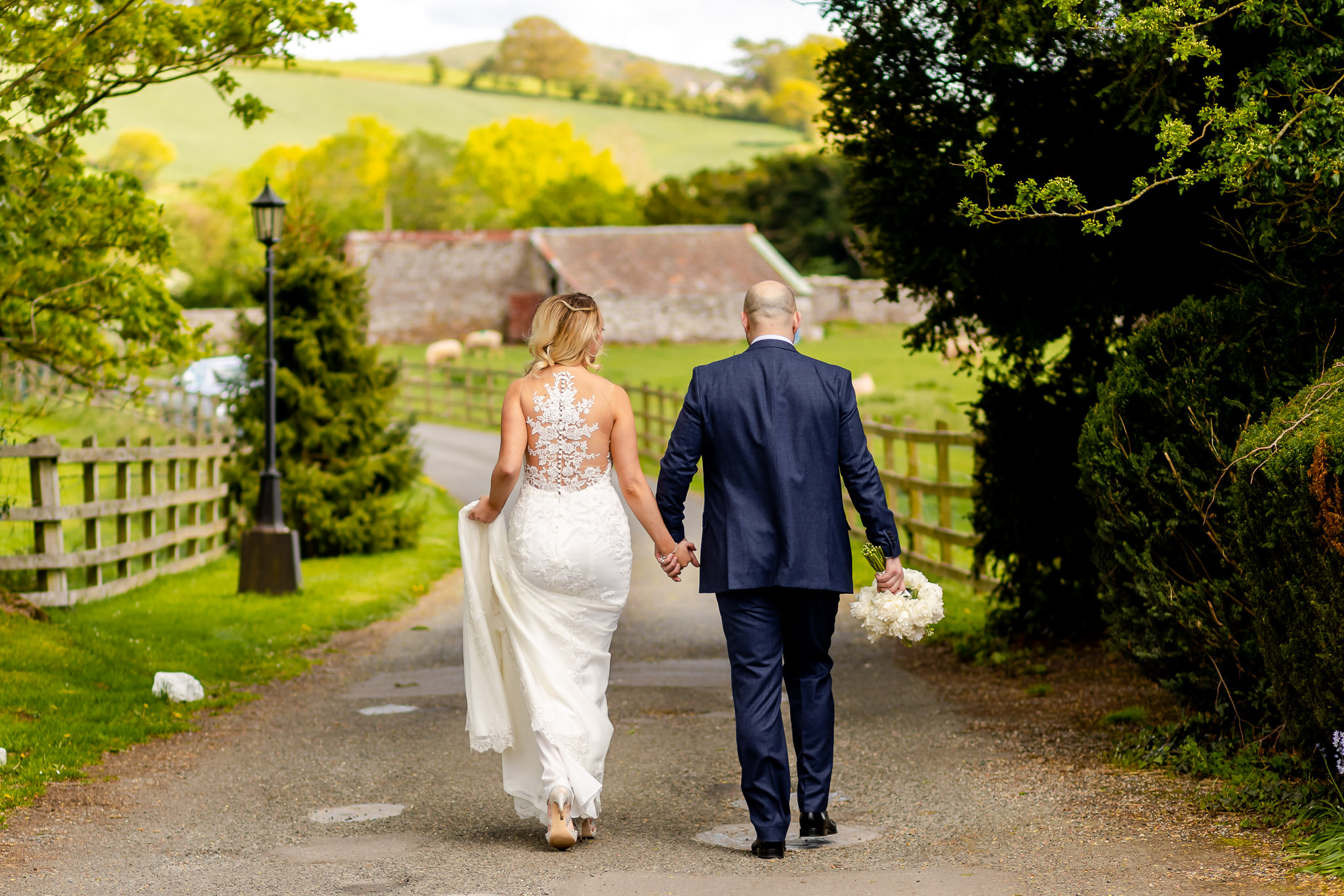Bride and Groom time out - Peterstone Court wedding