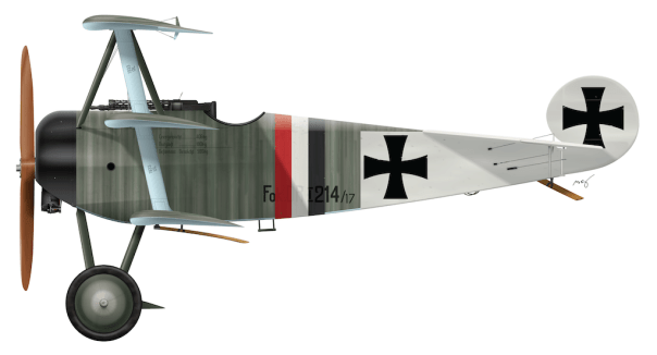 Fokker Dr.I 214/17 - March 1918 Side Profile View