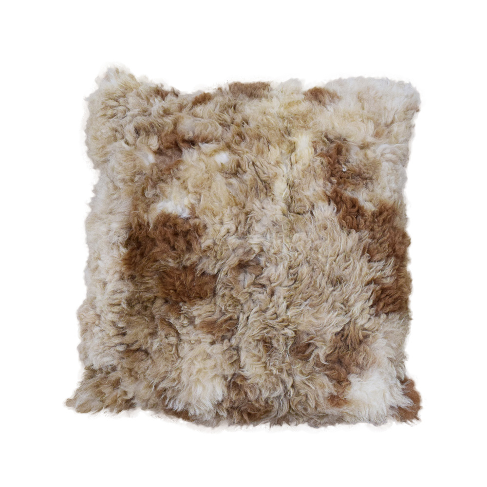 alpaca fur pillow 24 brown spotted double side fur