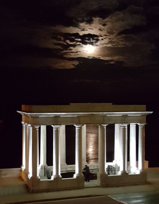 Full moon rising over Plymouth Rock