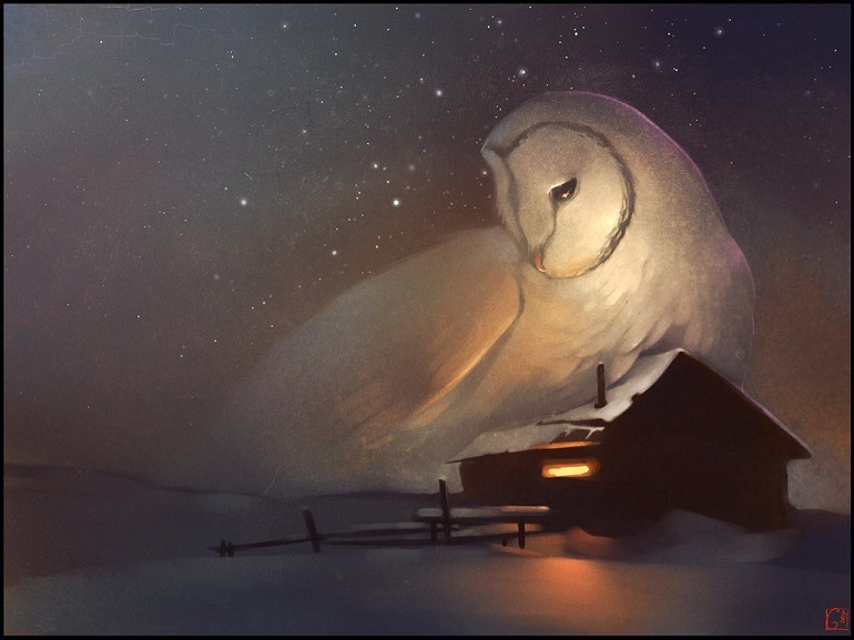 Image: Sweet Dreams by GaudiBuendia captures an owl protecting a house. It borrows from myth and sacred art