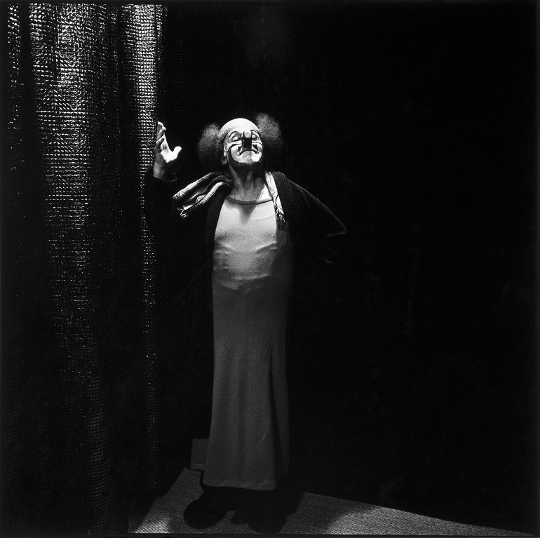 Image- Photo of  Charlie Rivel, c. 1980, dressed as a clown . It was taken by  Hans Gedda