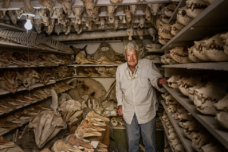 Image: Shows Raymond Bandar  walking through a closet filled with animal bones and skulls