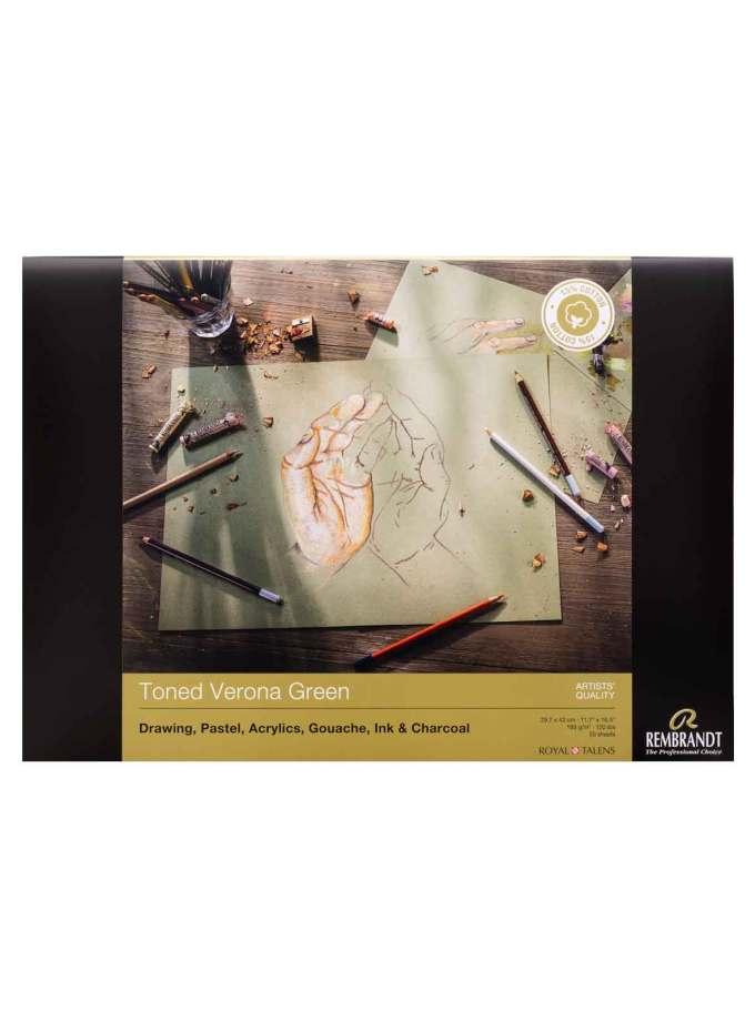 Rembrandt-Talens-Mplok-Toned-Verona-Green-50-Sheets-A3-29,7X42cm-180gr-package-Art&Colour