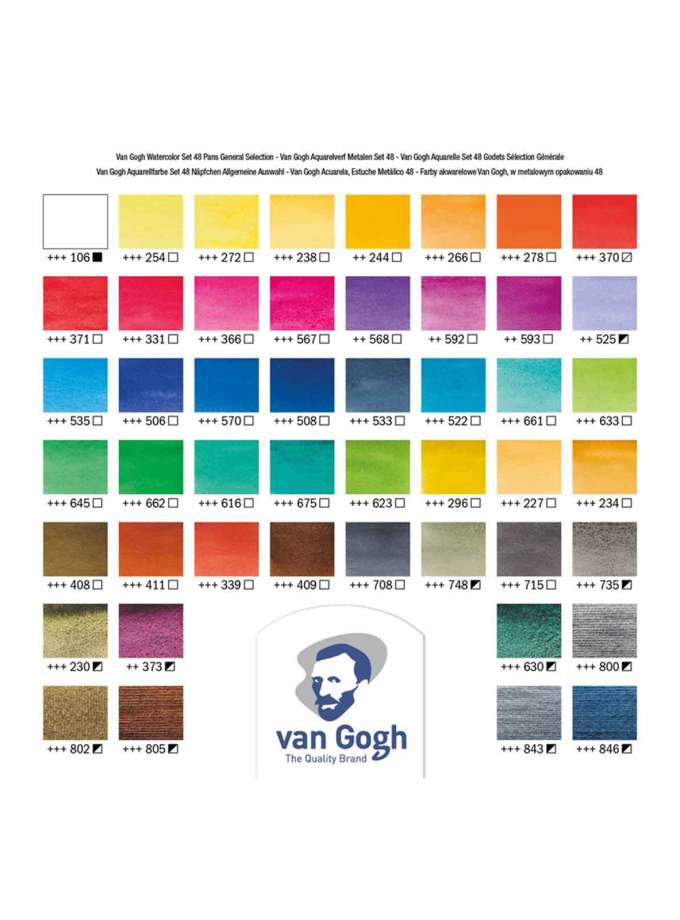 Van-Gogh-Talens-Water-Colour-Set-48-Pans-Metal-Box-Colour-Chart-Art&Colour