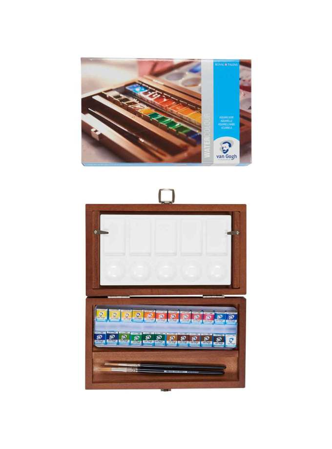 Van-Gogh-Talens-Water-Colour-Set-Wooden-Box-24-Pans-Art&Colour